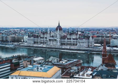 View Of The City.  Budapest Hungary, Tilt-shift Effect