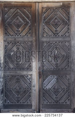Vintage Old Retro Colored Wooden Door Close-up