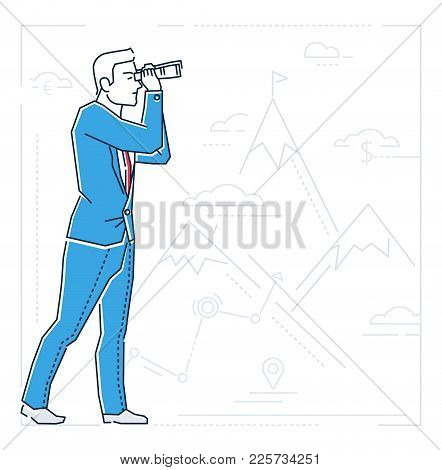Businessman Looking Forward - Line Design Style Isolated Illustration On White Background With Silho