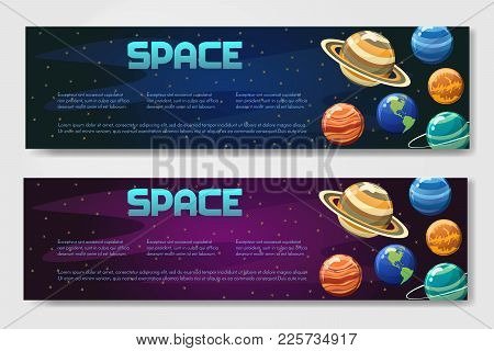 Set Of 2 Vector Brouchure. Flyer, Banner With Planets Isolated On Space Background In Different Styl