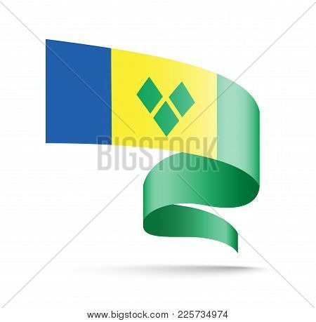 Saint Vincent And The Grenadines Flag In The Form Of Wave Ribbon. Vector Illustration On White Backg