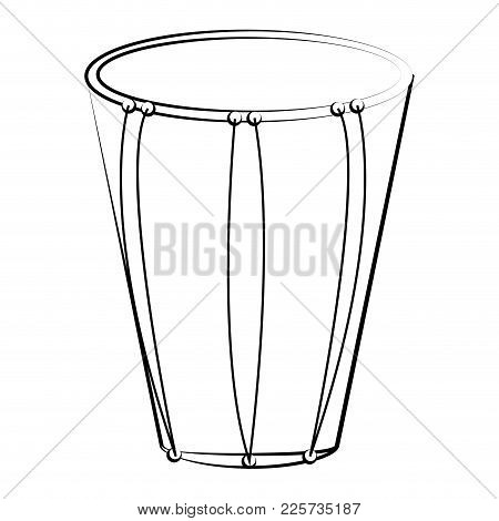 Isolated Bass Drum Outline. Musical Instrument. Vector Illustration Design