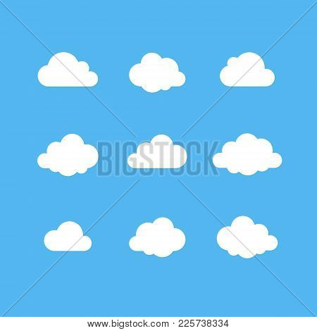 Cloud Vector Icon Set. White Cloud Shape On Blue Sky. Technology Save Share Data Information Concept