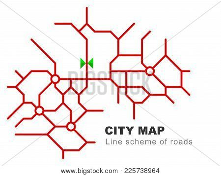 Abstract City Map - Town Streets On The Plan. Traffic Urban Background. Linear Road Scheme. Vector