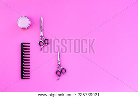 Professional Hairdressing Tools In Beauty Saloon On Pink Background Top View.
