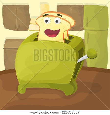 Cute Illustration Of A Toast In The Toaster. Cute Character And Faces And Smiles - Kitchen