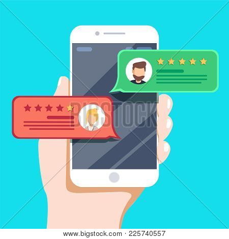 Review Rating Bubble Speeches On Mobile Phone Vector Illustration. Flat Style Smartphone Reviews Sta
