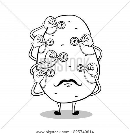 Potato With Monocular In Each Eye Coloring Vector Illustration. Isolated Image On White Background.