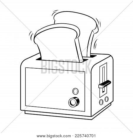 Toaster With Toasts Coloring Vector Illustration. Isolated Image On White Background. Comic Book Sty