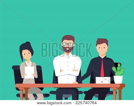 Interviewers At Work Looking Serious. Set Of Different People. Illustration About Job For Your Desig