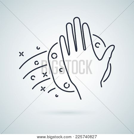 Hand Wiping With Cloth Vector Icon. Arm Use Towel Wipe Glass To Bright. Cleaning With Rag Or Sponge