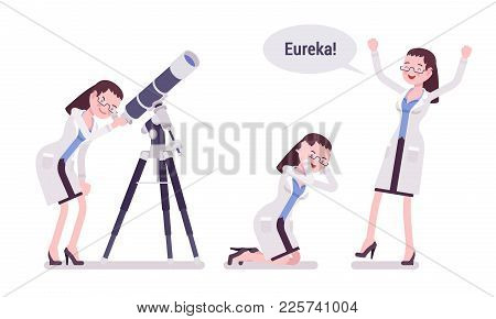Female Scientist Happy With Eureka Result. Successful Expert Of Physical Or Natural Laboratory In Wh