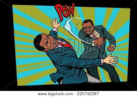 Beating Two Fighting Men, Strong Punch. Pop Art Retro Vector Illustration Hand Drawn Comic Cartoon