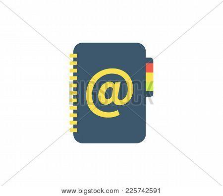 Address Book Icon. Vector Illustration In Flat Minimalist Style.