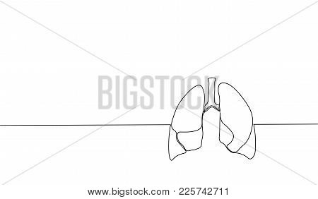 Single Continuous Line Art Anatomical Human Lungs Silhouette. Healthy Medicine Against Smoking Conce