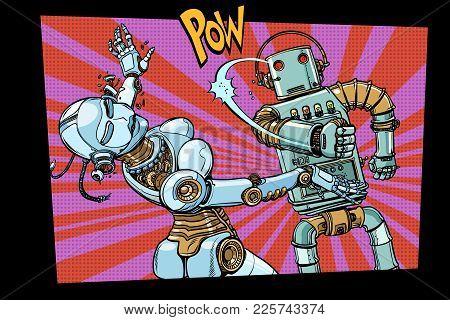 Male And Female Robots Fighting Domestic Violence. Pop Art Retro Comic Book Vector Cartoon Hand Draw