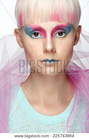 Beautiful Young Girl With Short White Hair And Painted Red And Pink Locks. Pink And Blue Makeup On S