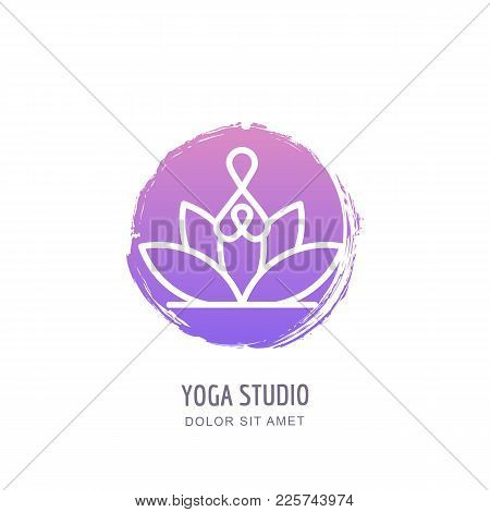 Vector Yoga Studio Logo, Emblem, Label Design Template. Abstract Human In Lotus Position On Watercol