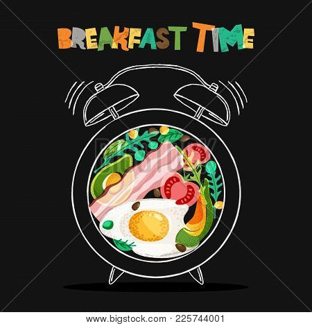 Breakfast Menu Vector Design. Fried Eggs, Bacon On Plate With Alarm Clock On Black Background. Break