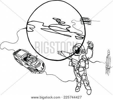 Astronaut In Spacesuit, Planet, Spacecraft, Car, Cabriolet In Space. Illustration Inspire By Recent