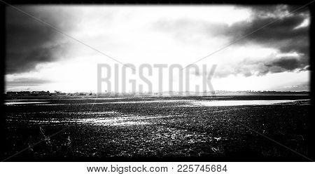 Flooded Fields In Winter In Norfolk, East Anglia, Uk