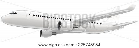 High Detailed White Airliner, 3d Render On A White Background. Airplane Take Off, Isolated 3d Illust