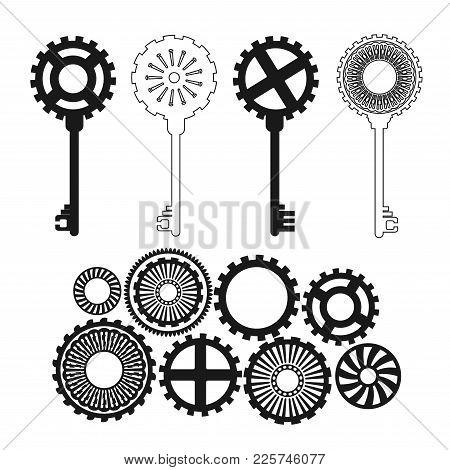 Vector Key In Steampunk Style. Fantastic Gears.