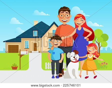 Happy Family Move Into A New House Flat Vector Illustration In Cartoon Design. Mother, Father, Siste