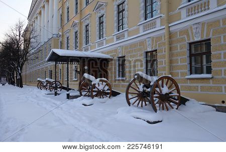 Artillery Cannons At The Cadet Corps On Moscow Avenue In St. Petersburg