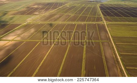 Aerial View Of Agricultural, Cultivated Fields. Agricultural Landscape. Irrigated Farmland