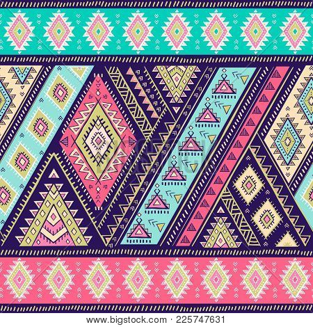 Geometric Aztec Pattern. Tribal Tattoo Style Can Be Used For Textile, Yoga Mats, Phone Cases, Colori