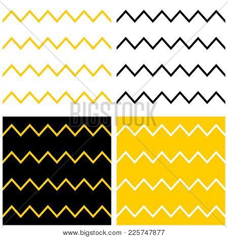 Tile Vector Pattern Set With Yellow, Black And White Zig Zag Chevron