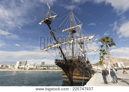 Mooring Of The Galeon In The Port Of Alicante