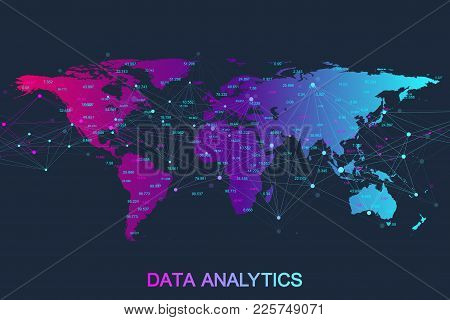 Big Data Analytics And Business Intelligence. Digital Analytics Concept With Graph And Charts. Finan
