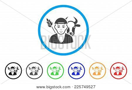 Farmer Rounded Icon. Style Is A Flat Farmer Gray Symbol Inside Light Blue Circle With Black, Gray, G