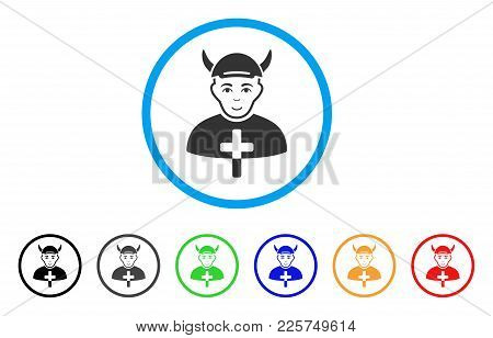Priest Devil Rounded Icon. Style Is A Flat Priest Devil Grey Symbol Inside Light Blue Circle With Bl