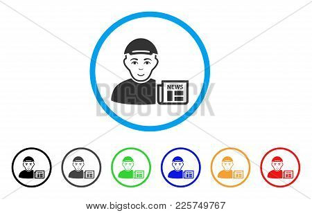 News Reader Rounded Icon. Style Is A Flat News Reader Grey Symbol Inside Light Blue Circle With Blac