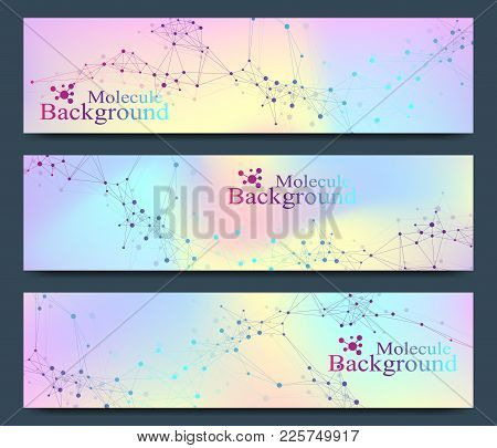 Modern Set Of Vector Banners. Molecule Dna And Communication Background For Medicine, Science, Techn