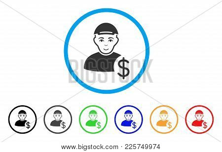 Loan User Rounded Icon. Style Is A Flat Loan User Grey Symbol Inside Light Blue Circle With Black, G