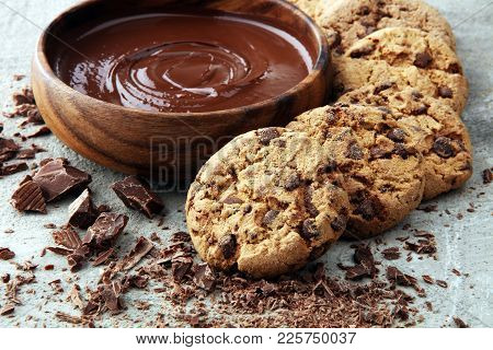 Chocolate cookies on grey table. Chocolate chip cookies shot