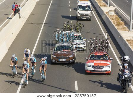 Tarragona, Spain - August 22, 2017: Group Of Cyclists On The International Bicycle Stage Race Known