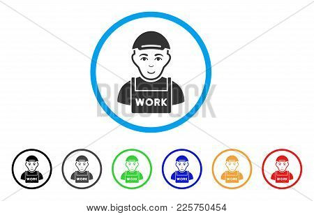Jobless Rounded Icon. Style Is A Flat Jobless Grey Symbol Inside Light Blue Circle With Black, Gray,