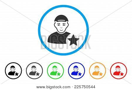 User Rating Star Rounded Icon. Style Is A Flat User Rating Star Gray Symbol Inside Light Blue Circle