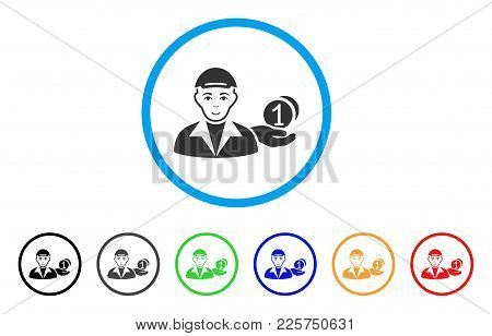 Payer Rounded Icon. Style Is A Flat Payer Gray Symbol Inside Light Blue Circle With Black, Gray, Gre