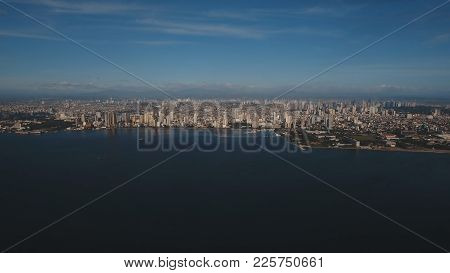 Aerial View Skyline Of Manila City At Sunset. Fly Over City With Skyscrapers And Buildings. Aerial S