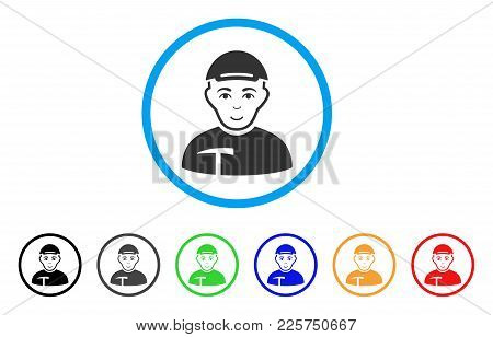 Miner Rounded Icon. Style Is A Flat Miner Grey Symbol Inside Light Blue Circle With Black, Gray, Gre