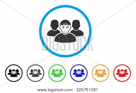 People Group Rounded Icon. Style Is A Flat People Group Gray Symbol Inside Light Blue Circle With Bl