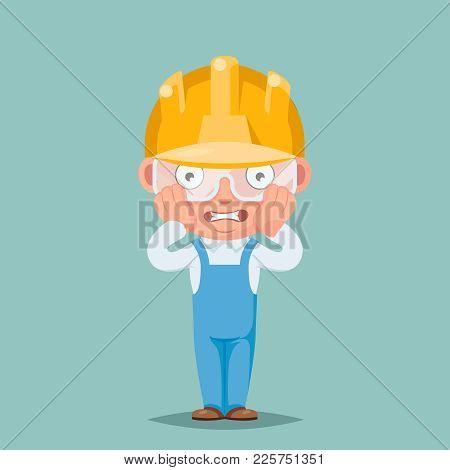 Scared Panic Shock Cute Builder Mascot Engeneer Cartoon Characters Set Design Vector Illustration