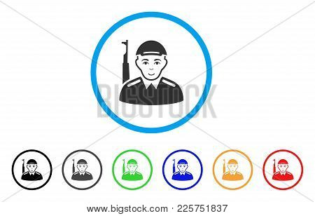 Soldier Rounded Icon. Style Is A Flat Soldier Grey Symbol Inside Light Blue Circle With Black, Gray,