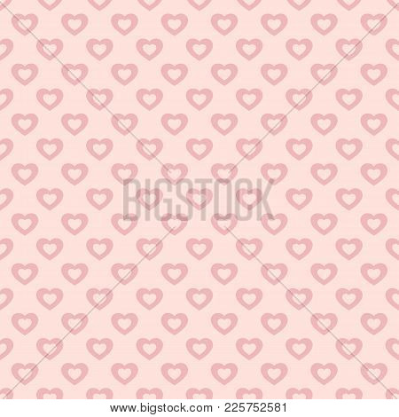 Valentines Day Background. Vector Seamless Pattern With Pink Hollow Hearts On Pastel Backdrop. Abstr